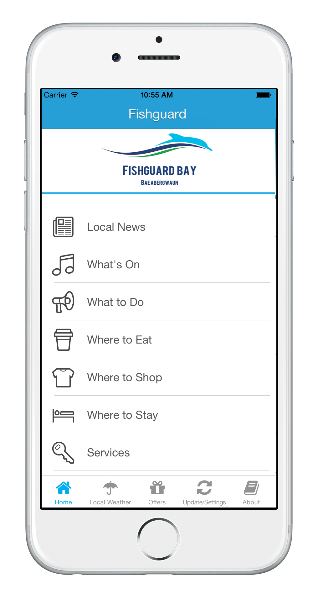 Fishguard Bay App Home Screen